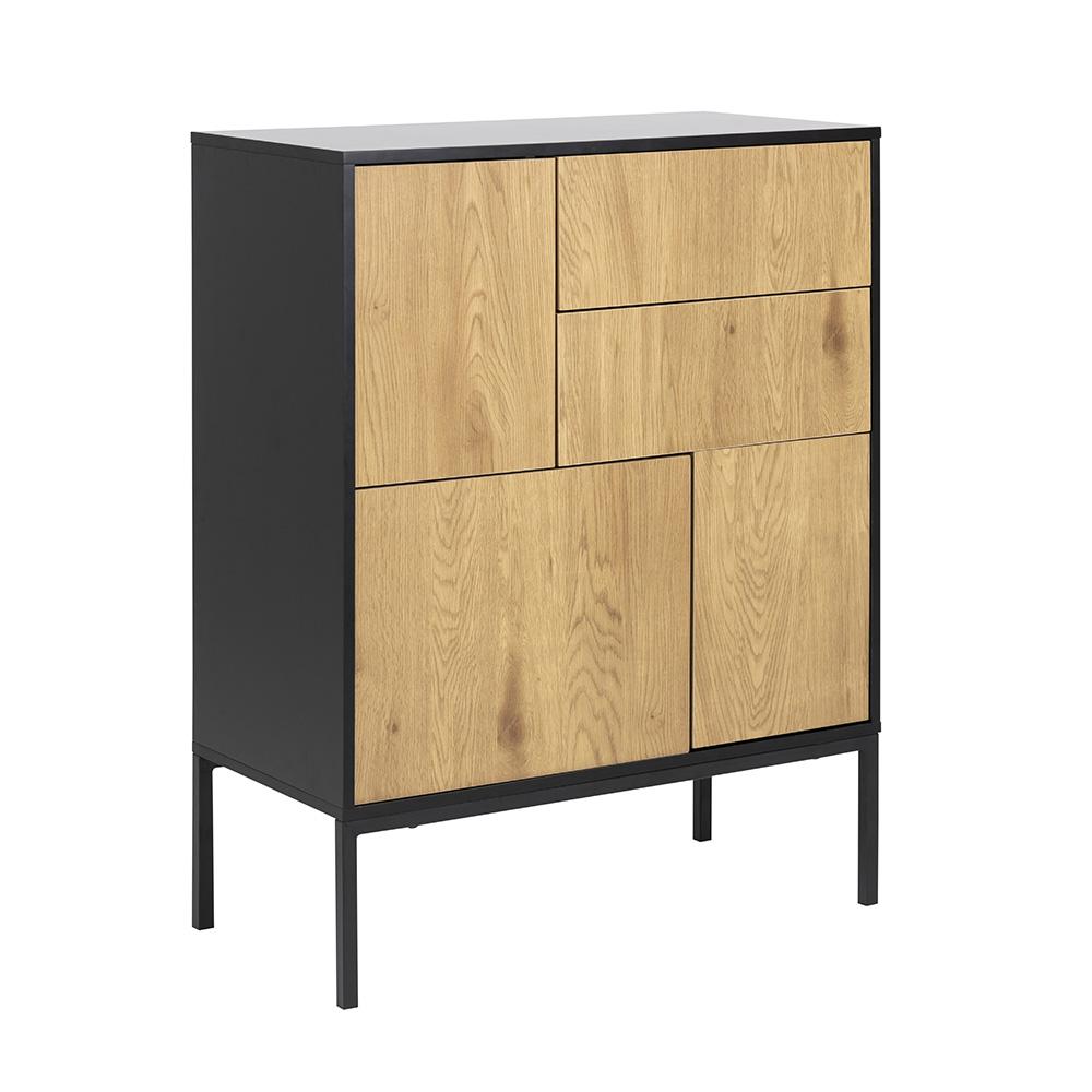 Komoda / kombinovaná skříň, Seashell, 103 cm, dub