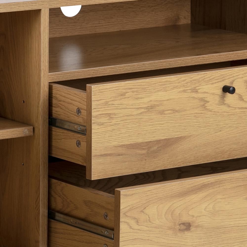 Komoda / kombinovaná skříň Wanda, 124 cm, dub