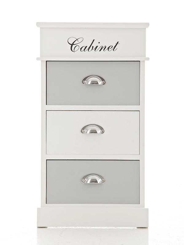 Komoda s 3 zásuvkami Cabinet, 69 cm, biela / šedá