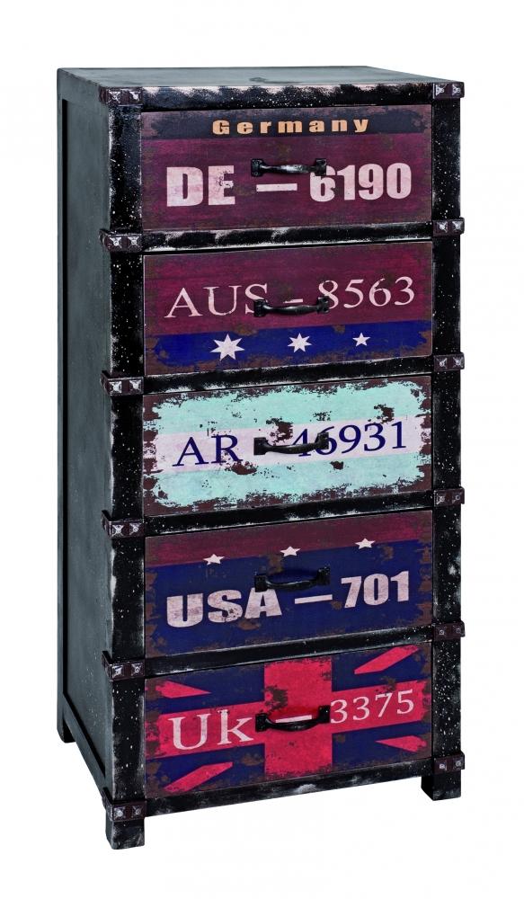 Komoda s 5 zásuvkami Talip, 100 cm, vícebarevná