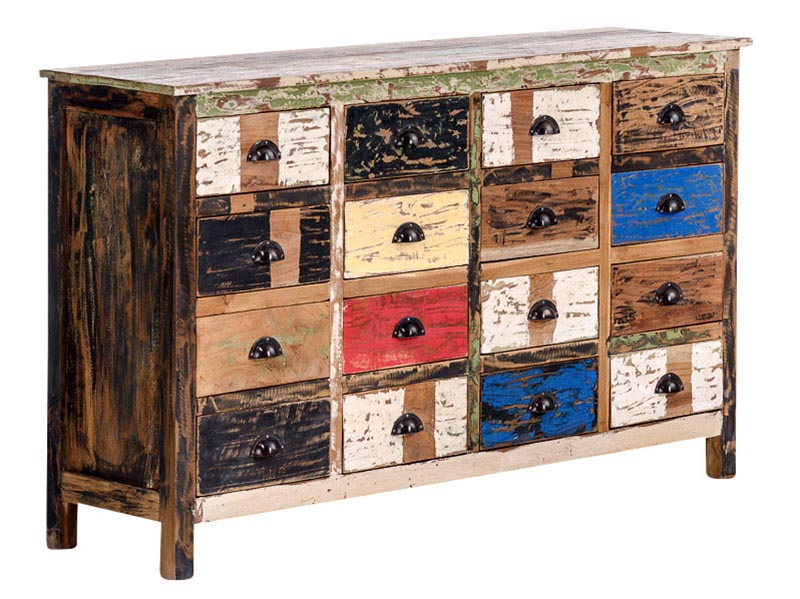 Komoda teaková so 16 zásuvkami Larisa, 154 cm, viac farieb