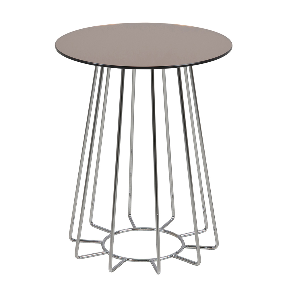 Konferenční / noční stolek Goldy, 50 cm, chrom/bronz