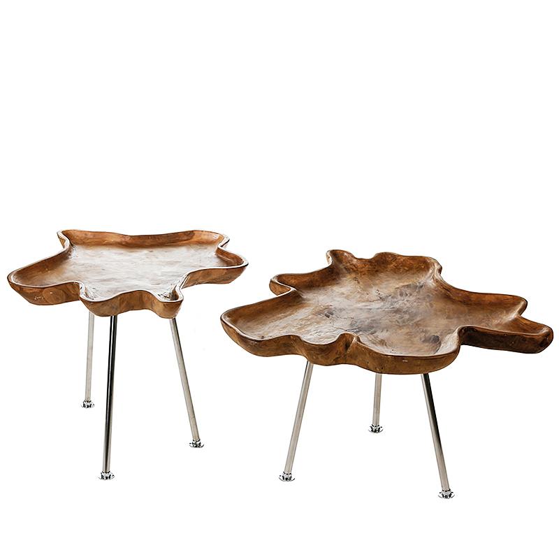 Konferenční / odkládací stolek s teakovou deskou Baum, 80 cm
