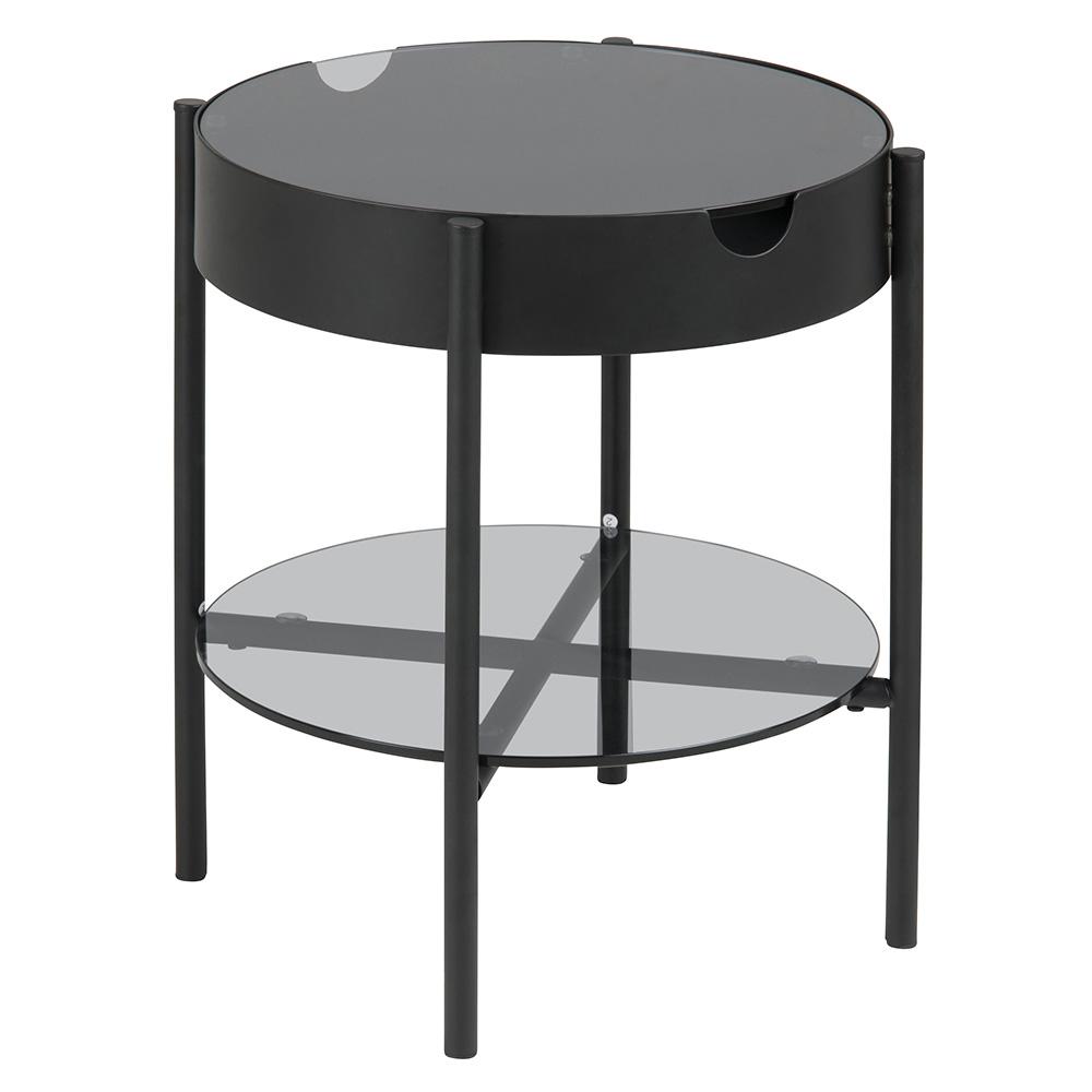 Konferenční / servírovací stolek Lipton, 45 cm, kouřové sklo