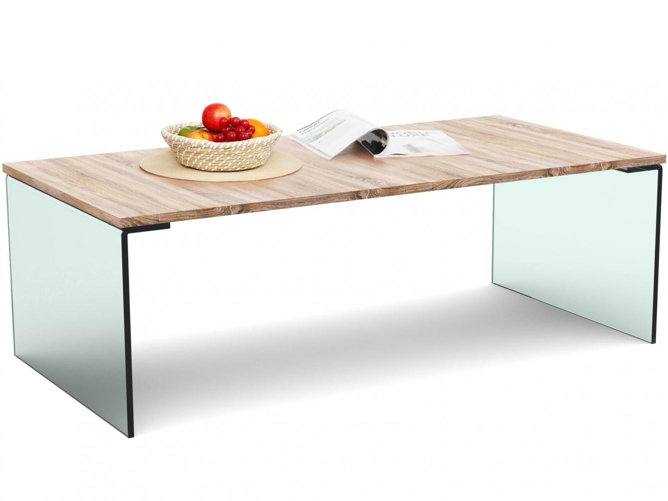 Konferenční stolek Anes, 120 cm, dub / sklo