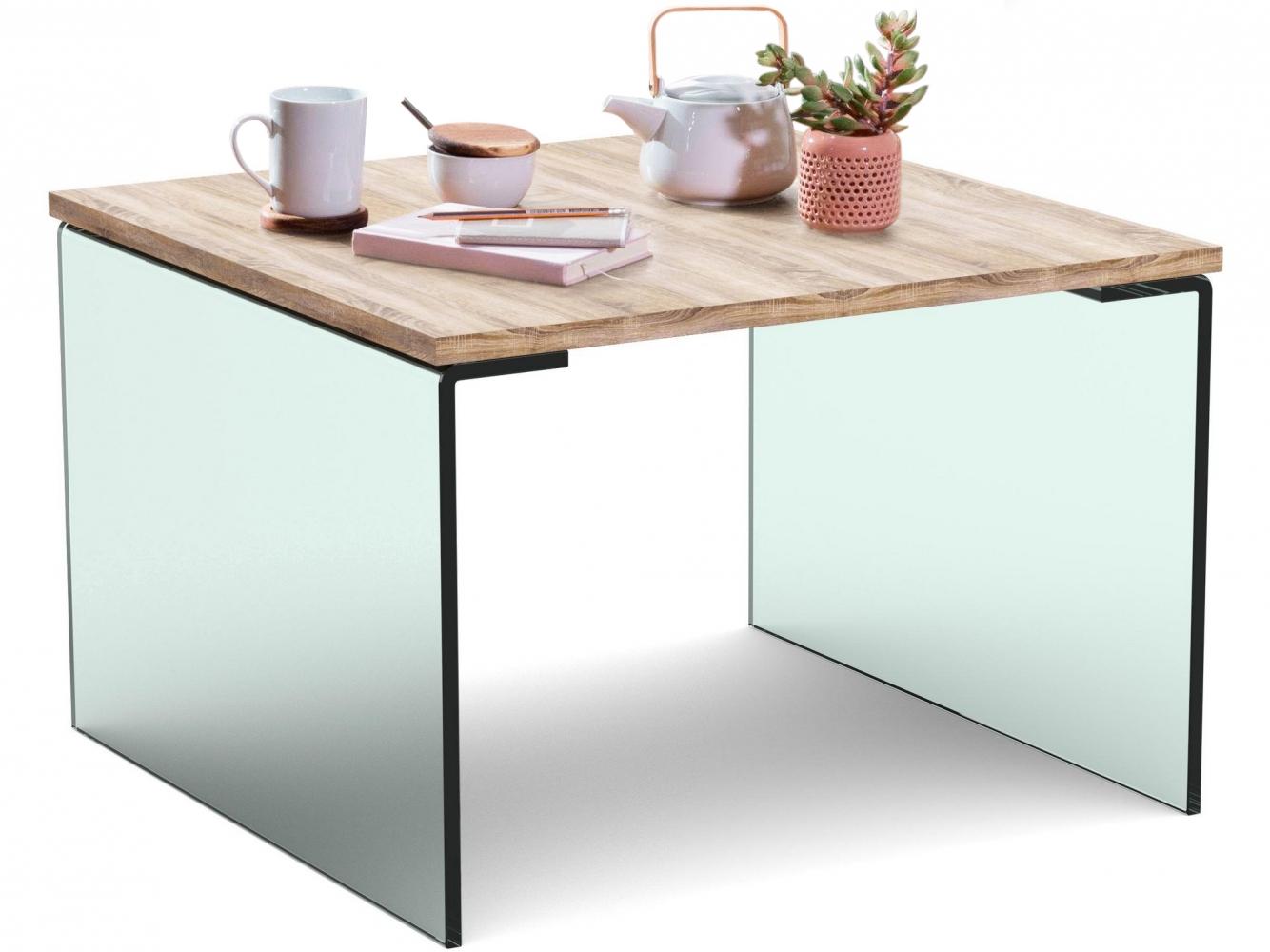 Konferenční stolek Anes, 60 cm, dub / sklo