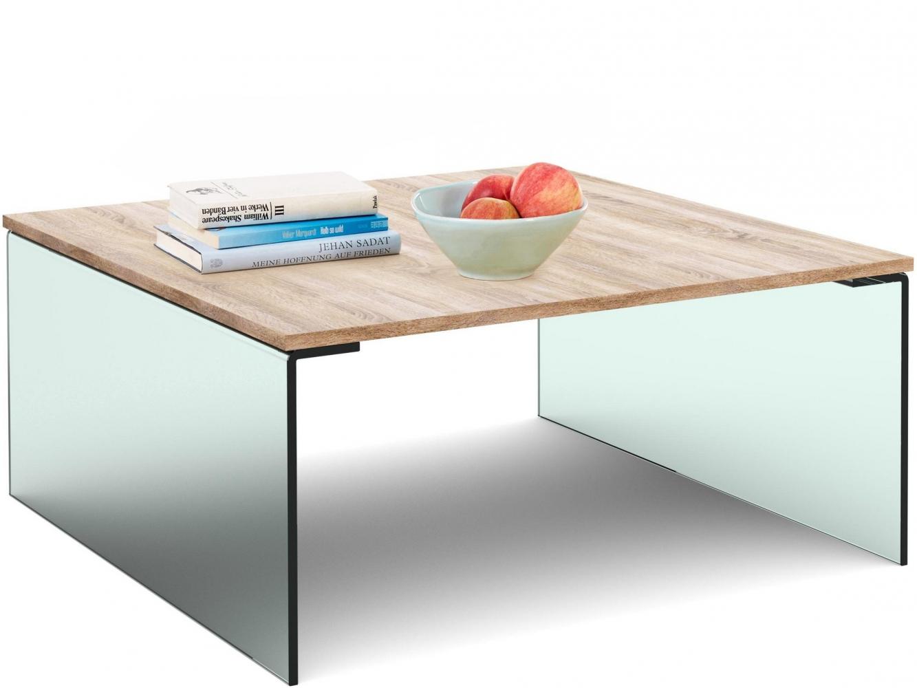 Konferenční stolek Anes, 90 cm, dub / sklo
