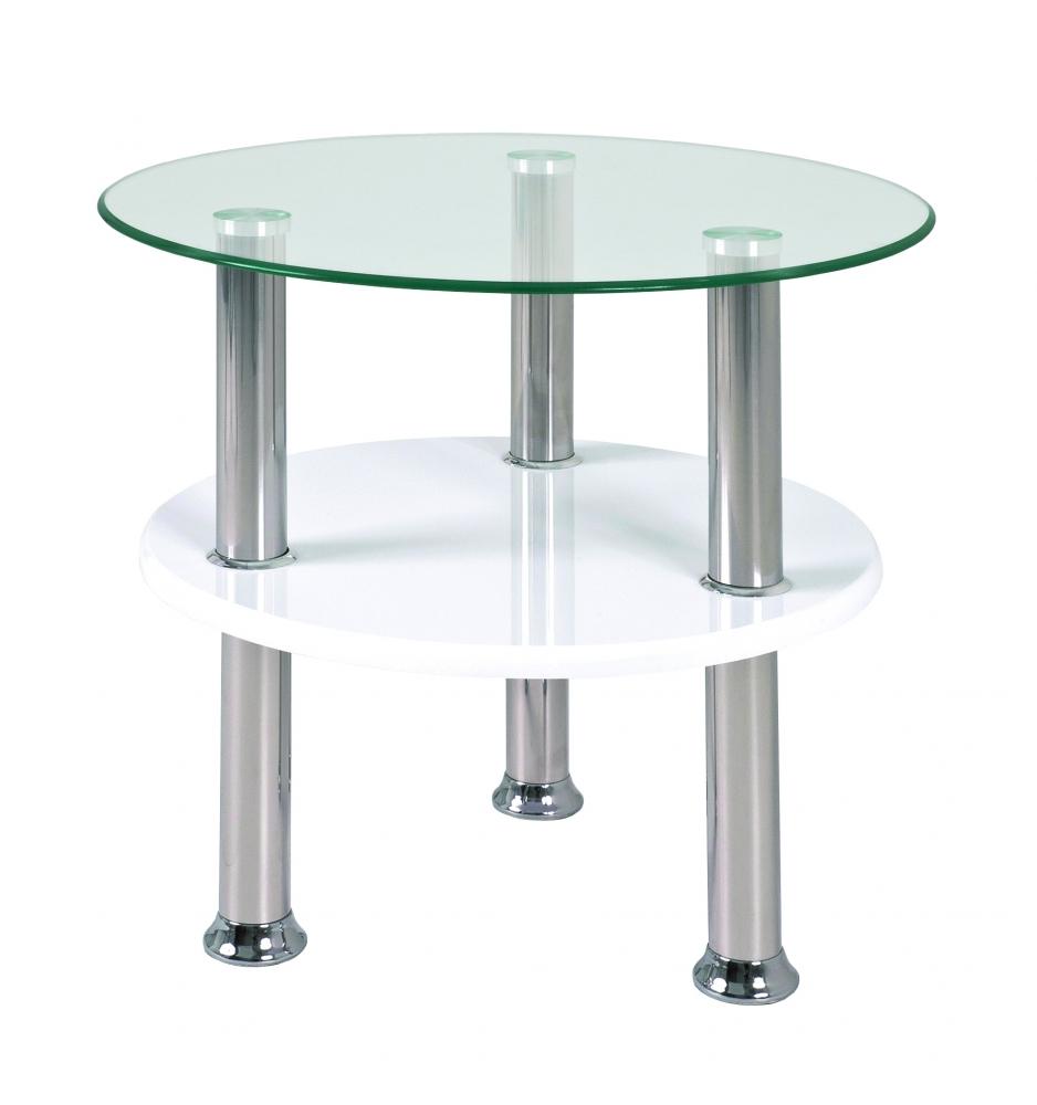 Konferenční stolek Azariah, 42 cm, nerez / bílá