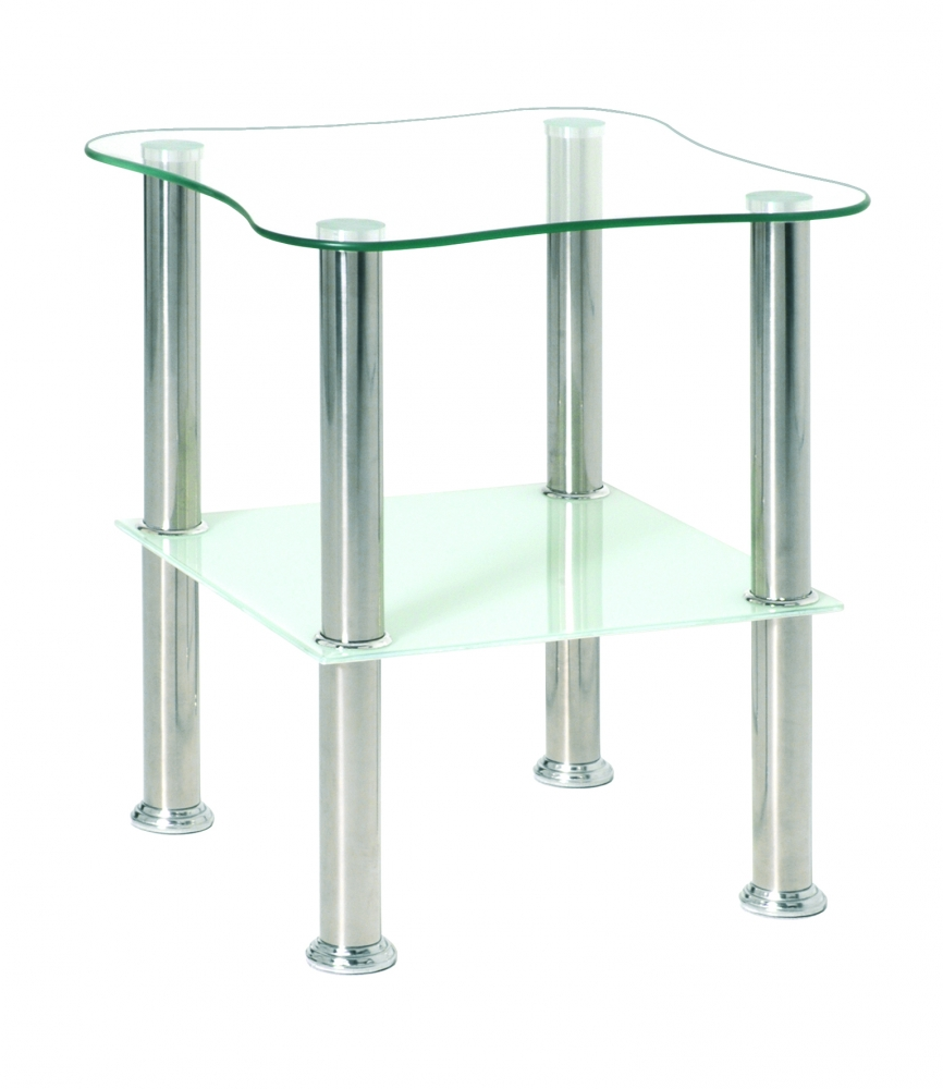 Konferenční stolek Azariah, 47 cm, nerez / bílá
