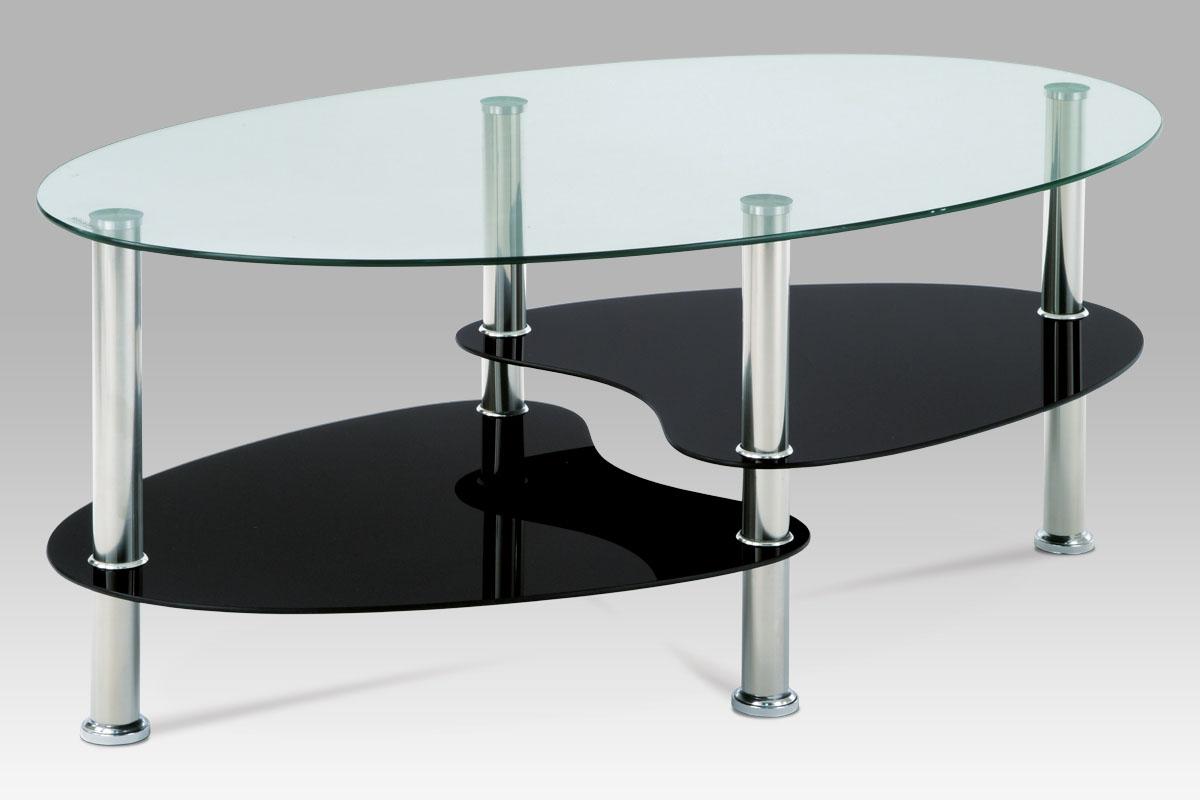 Konferenční stolek Boris, 100 cm, černé sklo