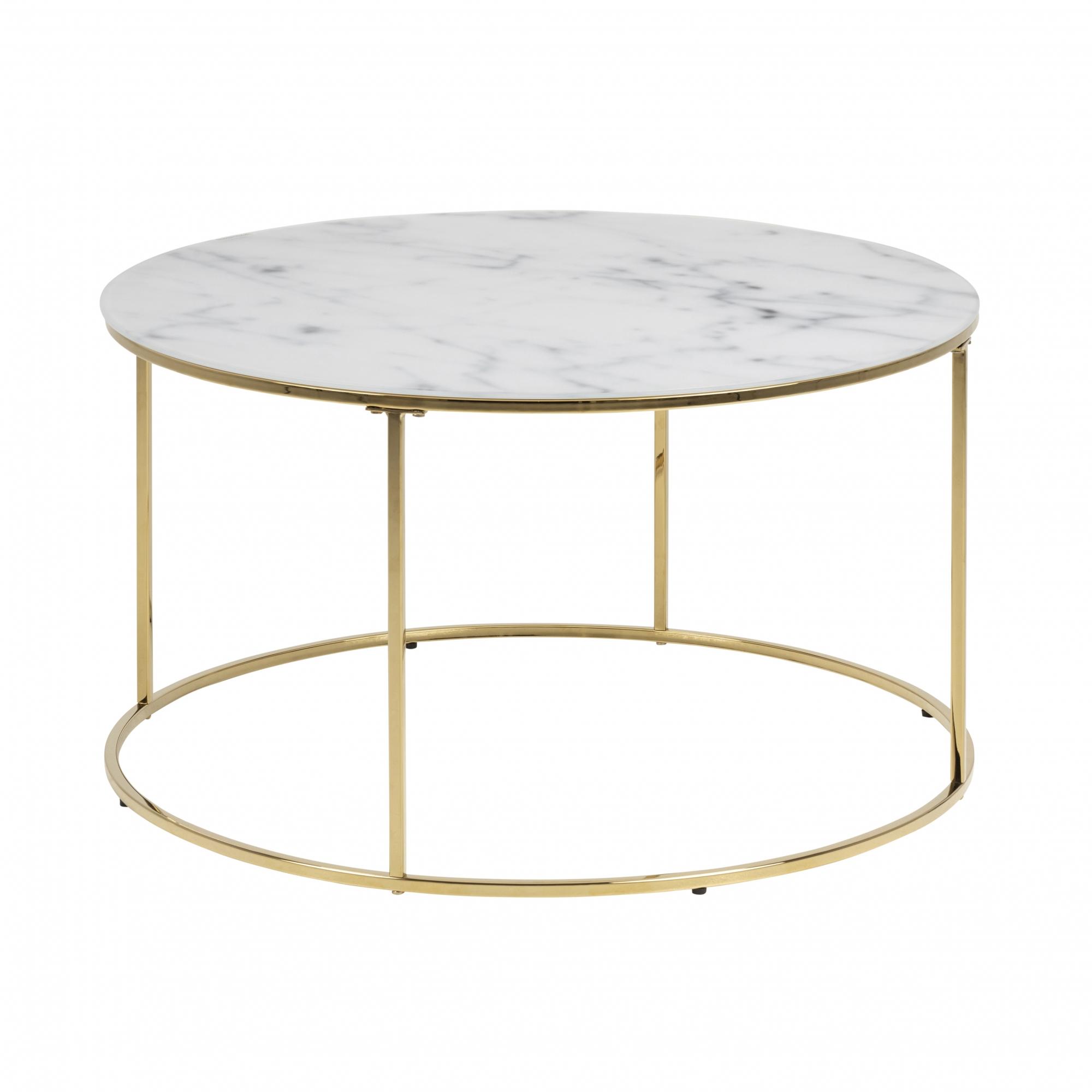 Konferenční stolek Boston 2, 80 cm, sklo/zlatá