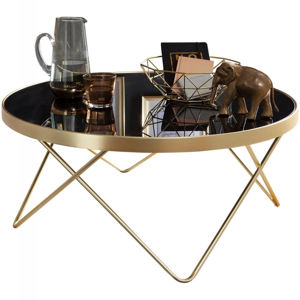 Konferenční stolek Cala, 82 cm, černá / zlatá