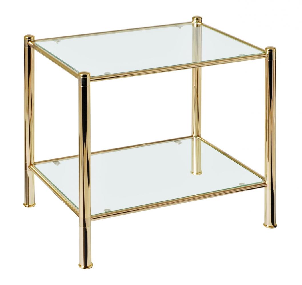 Konferenční stolek Dixi, 54 cm, zlatá / čirá