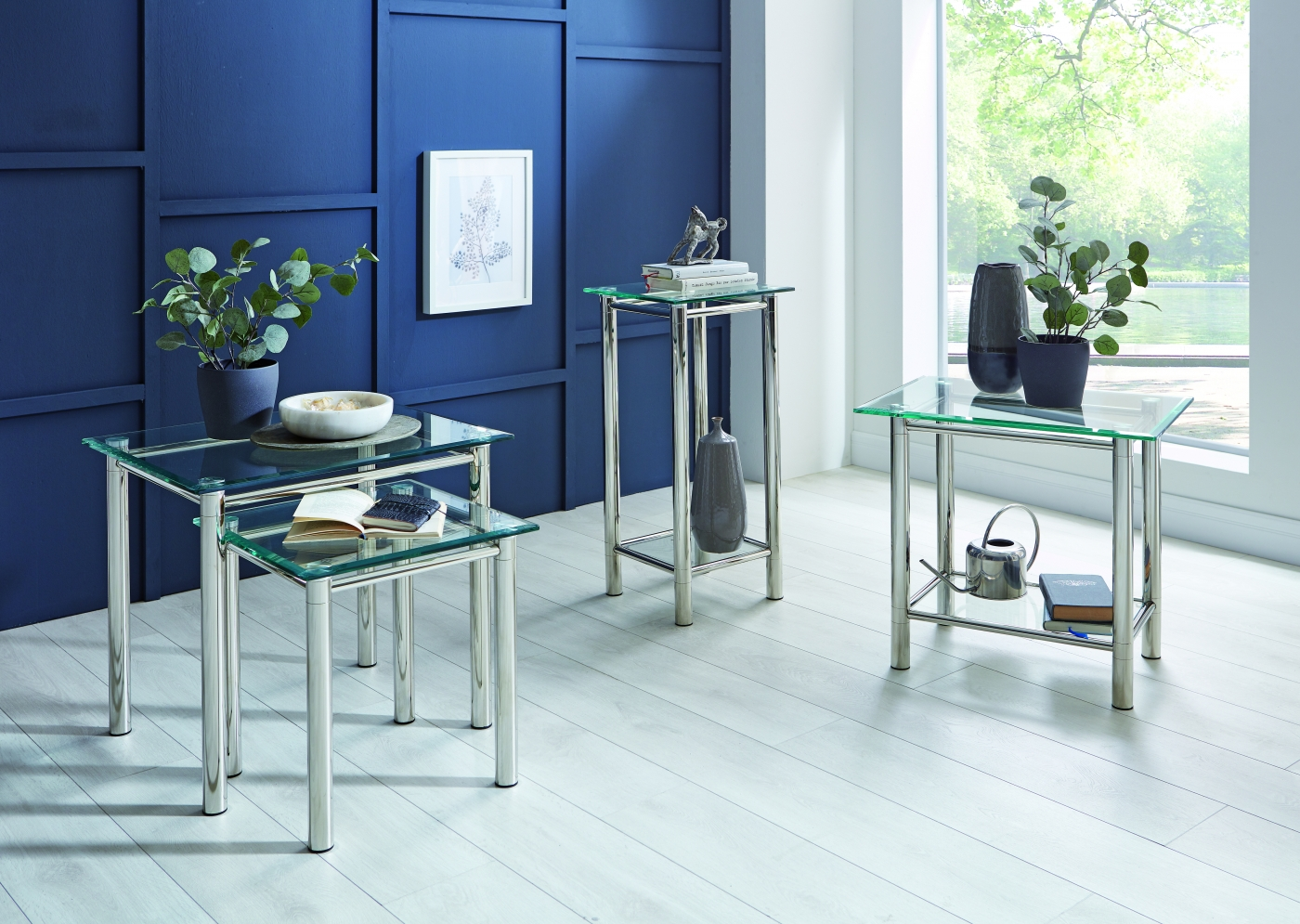 Konferenční stolek Embu, 58 cm, čiré sklo