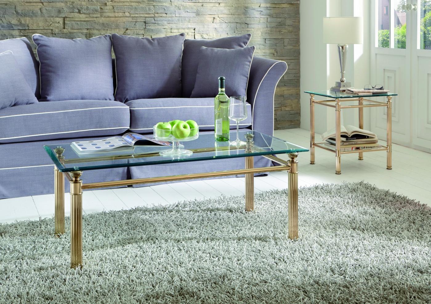 Konferenční stolek Enar, 110  cm, zlatá / čirá