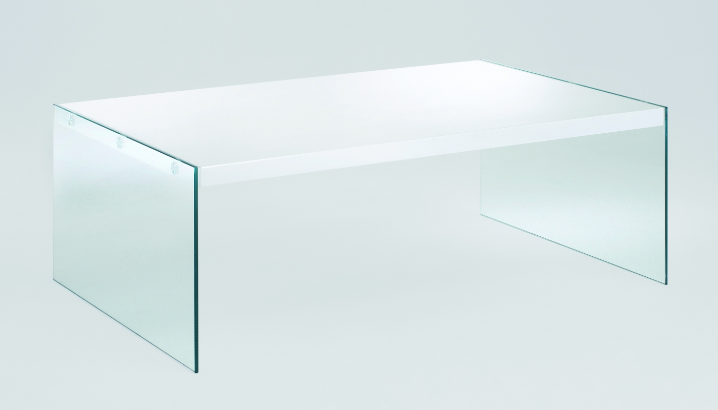 Konferenční stolek Gero, 110 cm, bílá / čirá