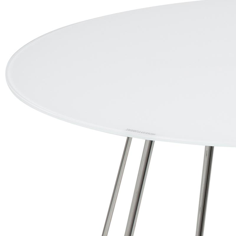 Konferenční stolek Goldy, 80 cm, chrom/bílá