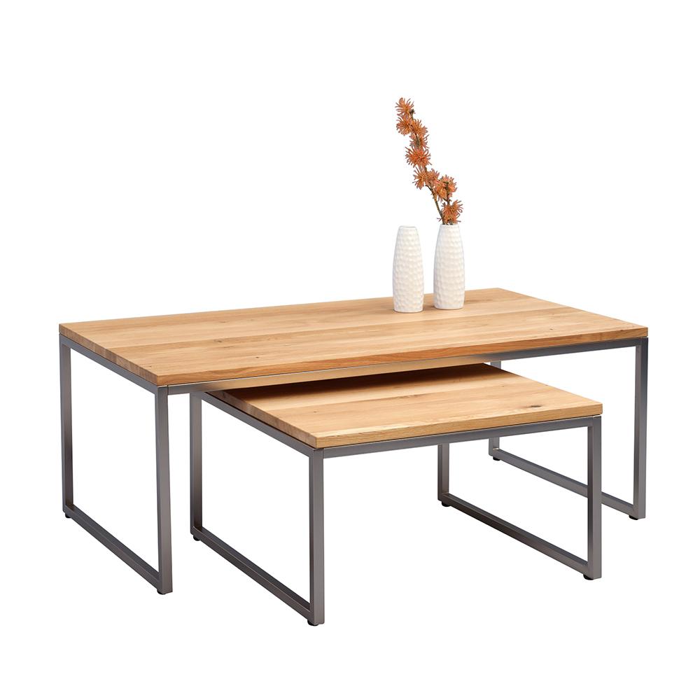 Konferenční stolek Jessica nízký, 60 cm, nerez/divoký dub