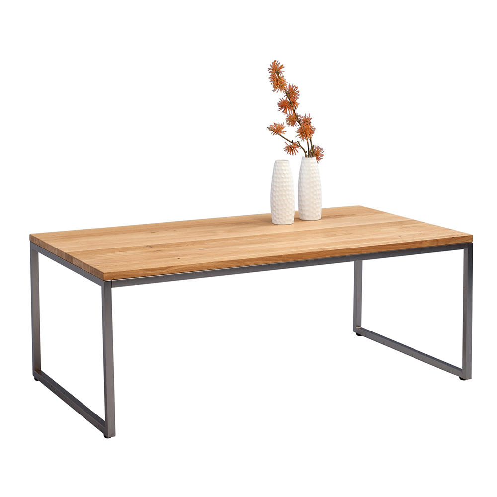 Konferenční stolek Jessica vysoký, 110 cm, nerez/divoký dub