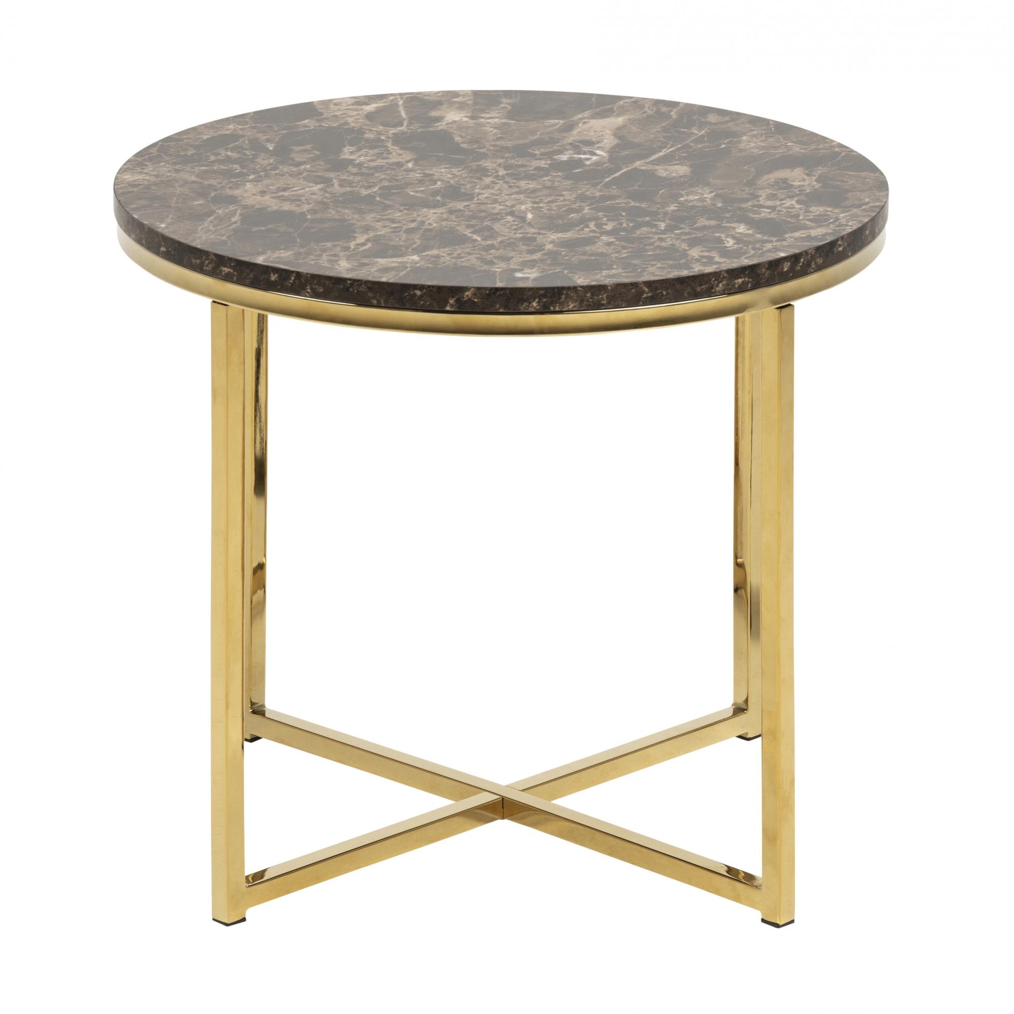 Konferenční stolek kulatý Alma, 50 cm, zlatá/hnědá