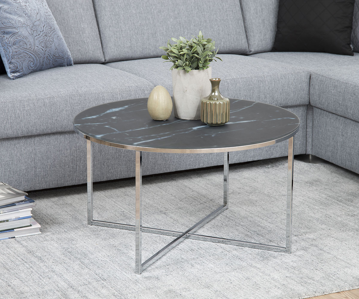 Konferenční stolek kulatý Alma, 80 cm, černá