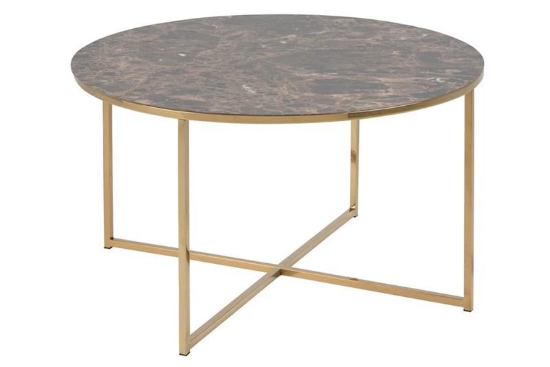 Konferenční stolek kulatý Alma, 80 cm, zlatá/hnědá