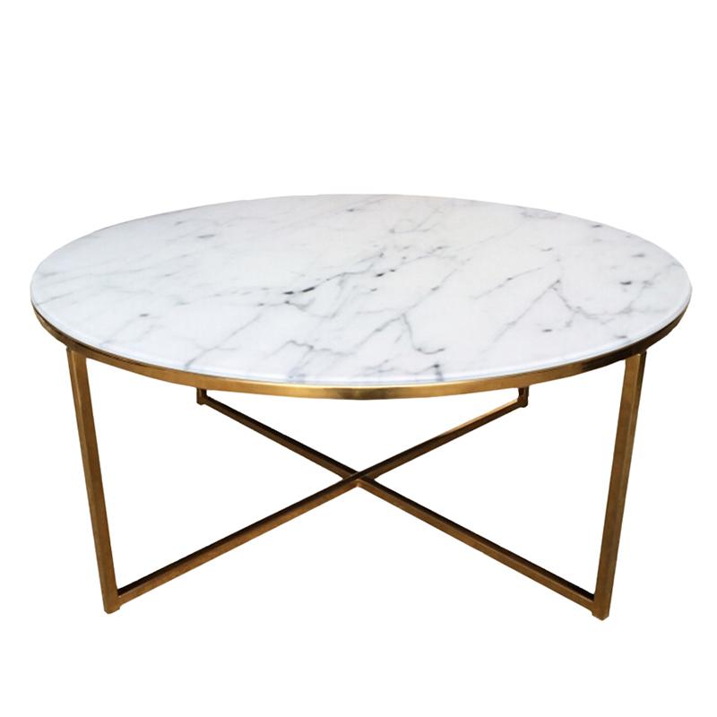 Konferenční stolek kulatý Alma, 80 cm, zlatá