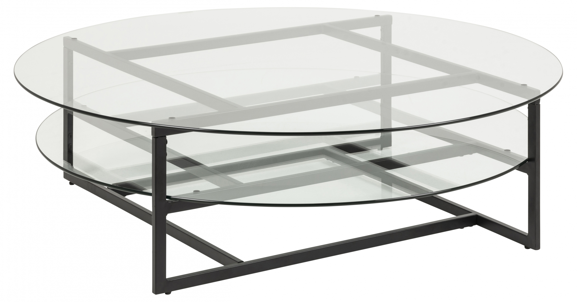 Konferenční stolek Locika kulatý, 120 cm, čiré sklo
