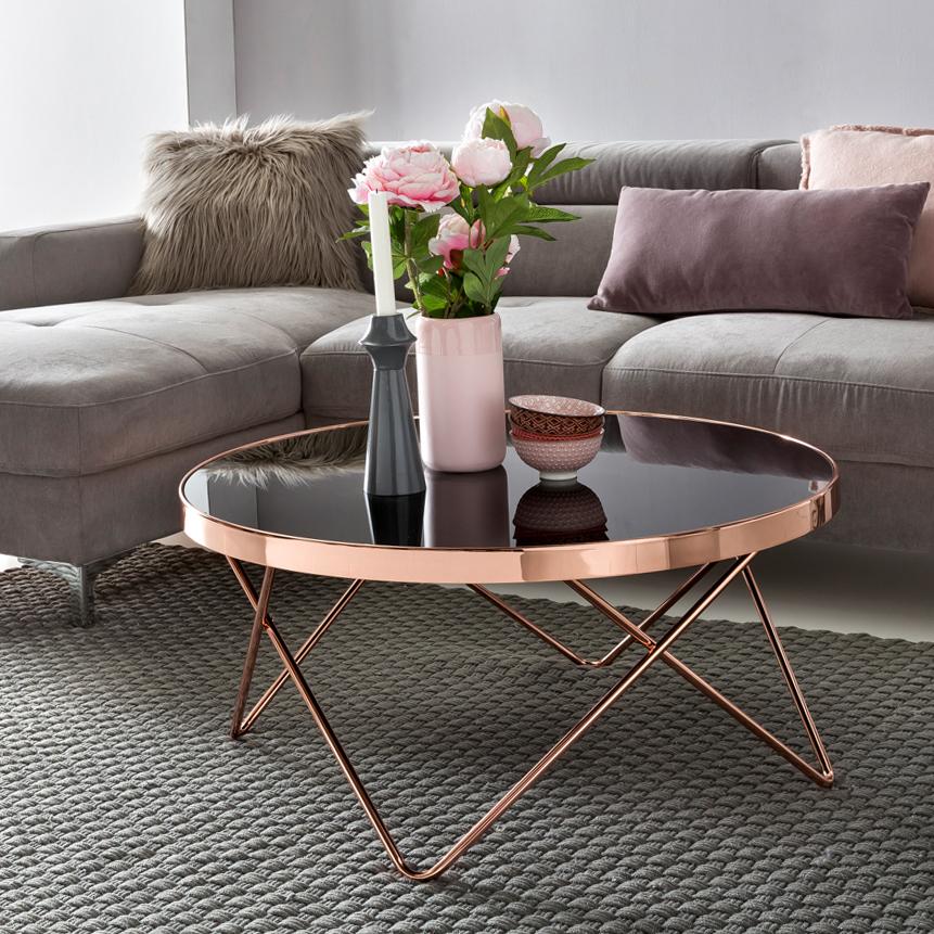 Konferenční stolek Lola, 80 cm, černá / měděná