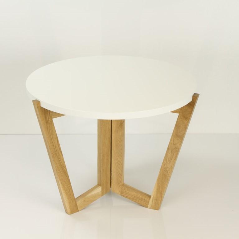 Konferenční stolek Mollen, 60 cm, dub/bílá