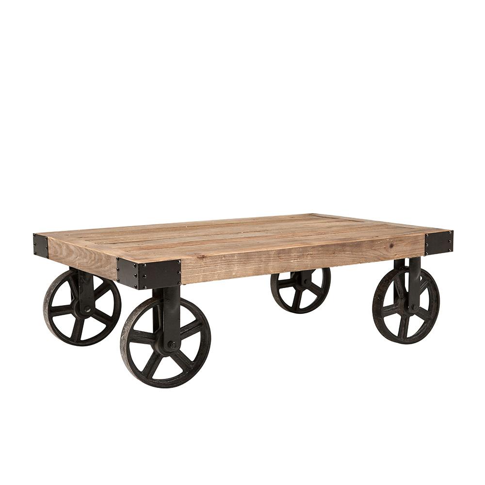 Konferenční stolek na kolečkách Bernard, 110 cm, jilm