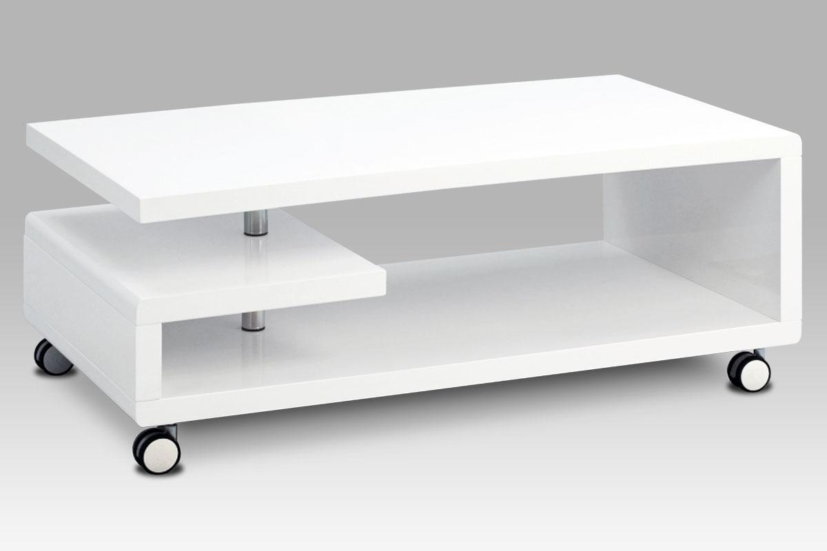 Konferenční stolek na kolečkách Ervin, 115 cm, bílá