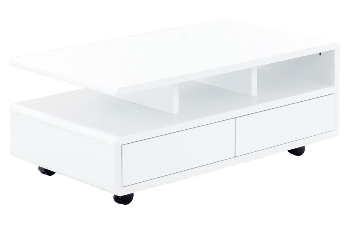 Konferenční stolek na kolečkách Eugen, 100 cm, bílá