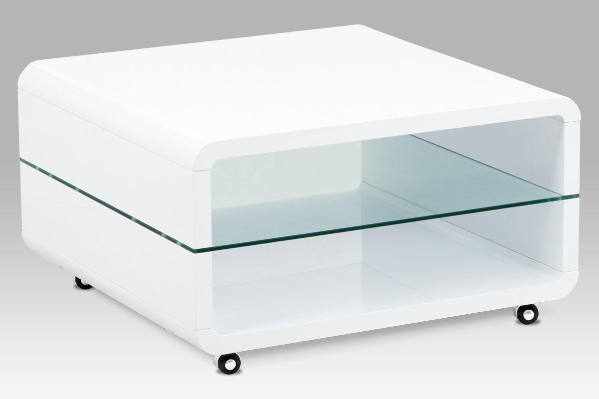 Konferenční stolek na kolečkách Herman, 80 cm, bílá
