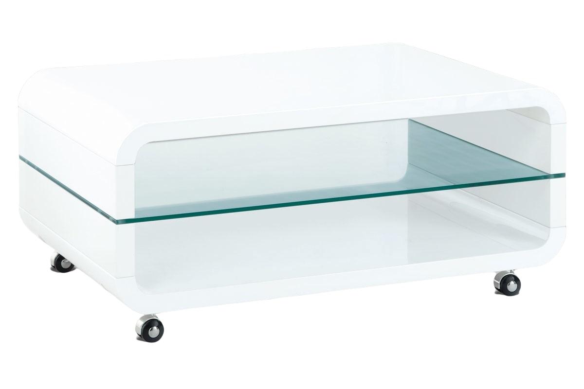 Konferenční stolek na kolečkách Herman, 90 cm, bílá