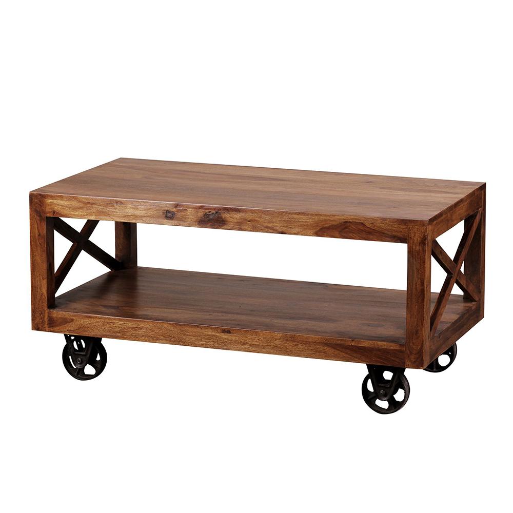 Konferenční stolek na kolečkách Pali, 110 cm, masiv Sheesham