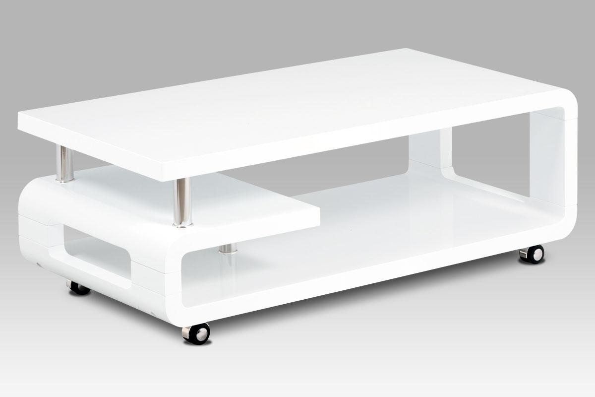 Konferenční stolek na kolečkách Teodor, 115 cm, bílá