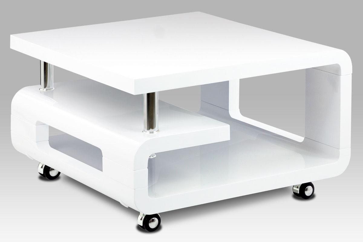 Konferenční stolek na kolečkách Teodor, 70 cm, bílá
