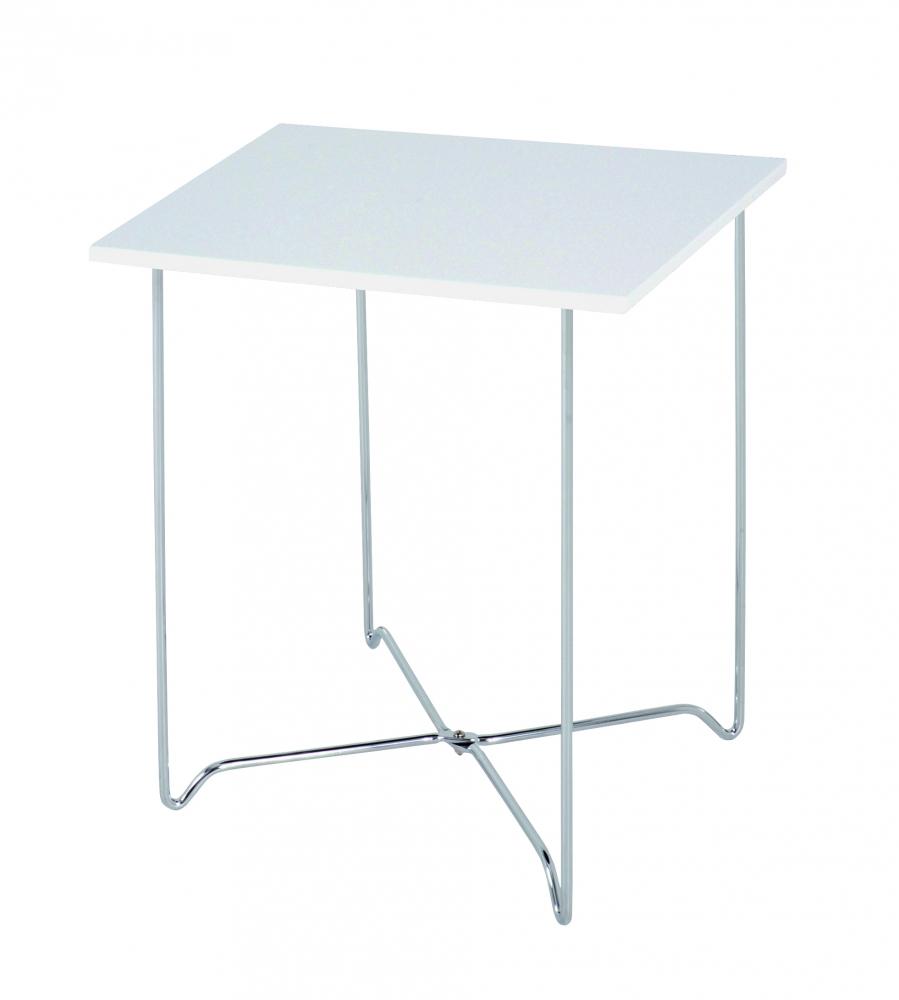 Konferenční stolek Nash, 51 cm, bílá / chrom