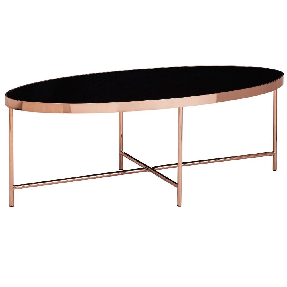 Konferenční stolek Olia, 110 cm, černá / měděná