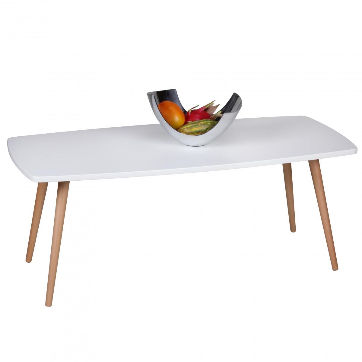 Konferenční stolek Scanio, 110 cm, bílá/buk