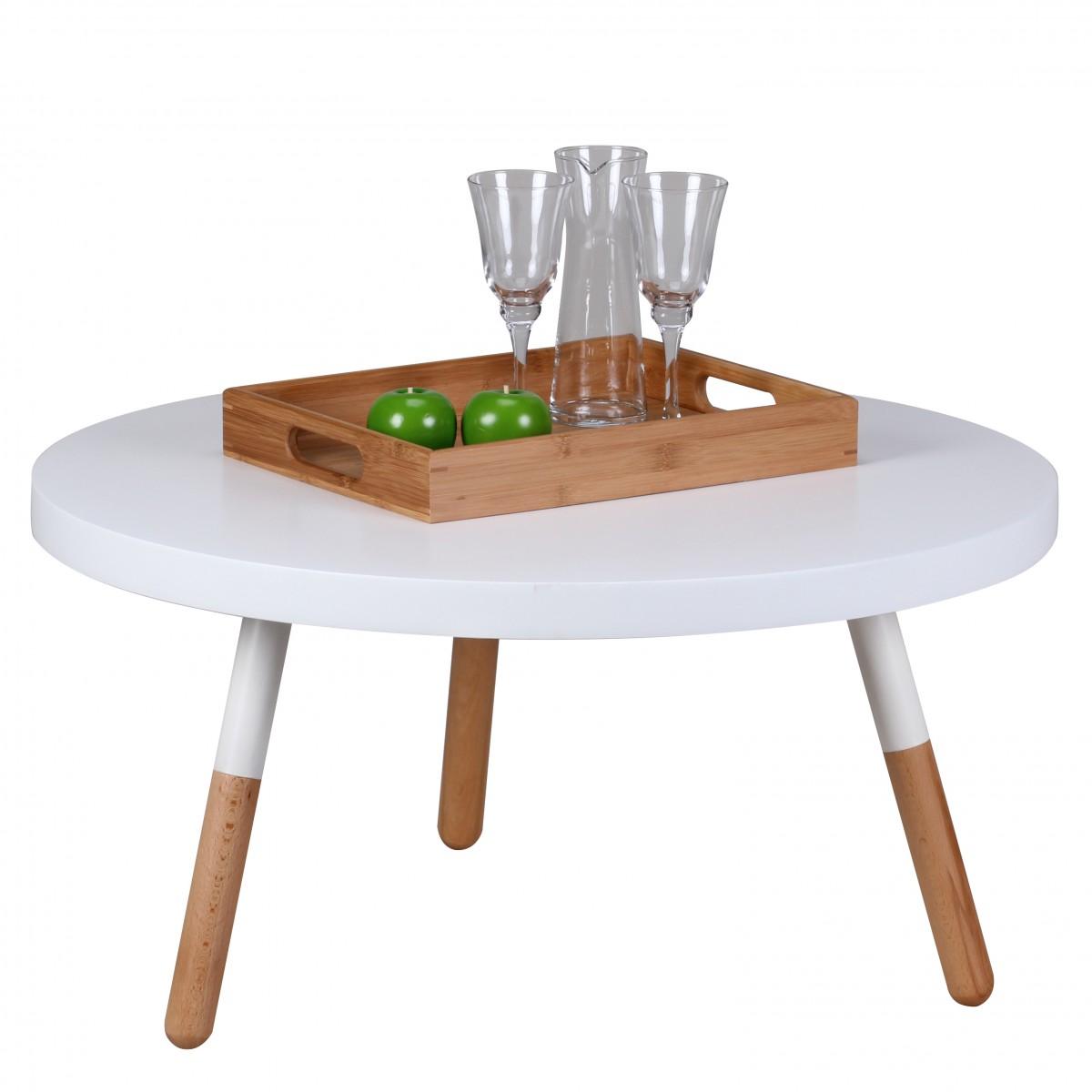 Konferenční stolek Scanio, 80x40 cm, bílá/buk