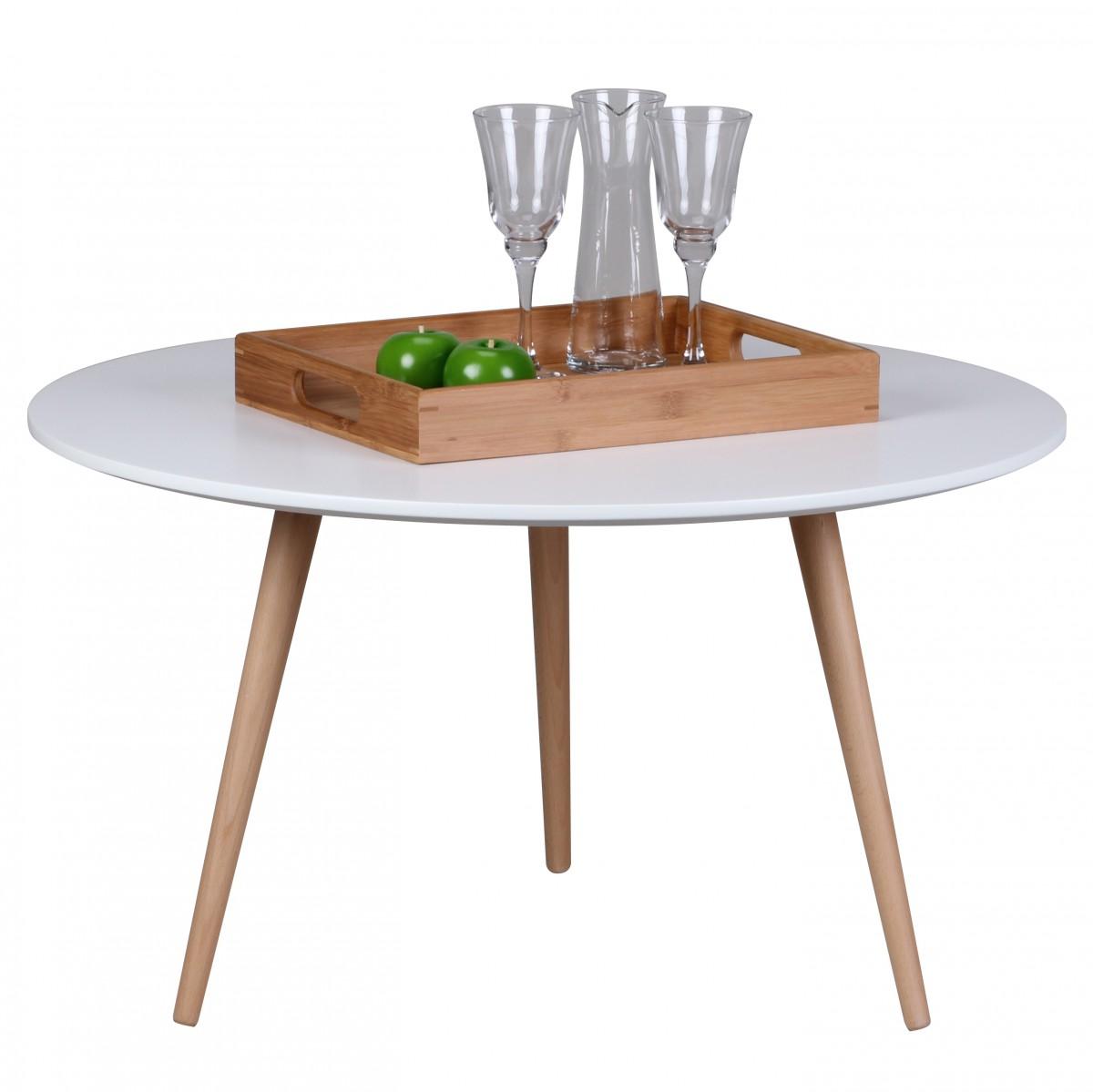 Konferenční stolek Scanio, 80x45 cm, bílá/buk