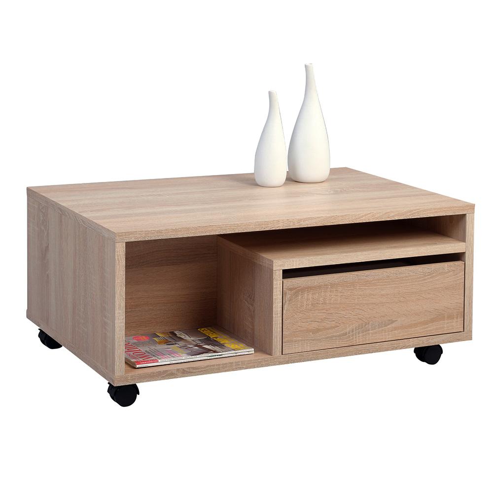 Konferenční stolek se zásuvkami a kolečky Clerk, 90 cm