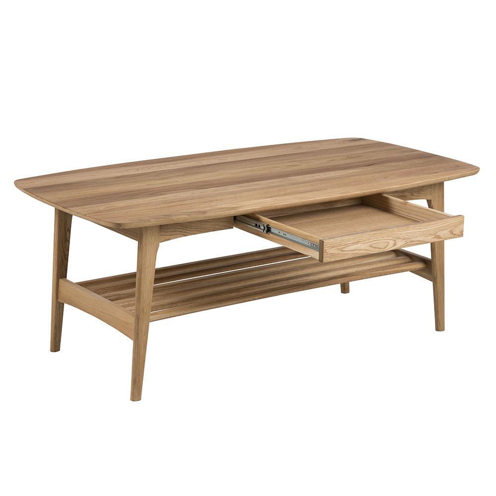 Konferenční stolek se zásuvkou Emina, 130 cm, dub