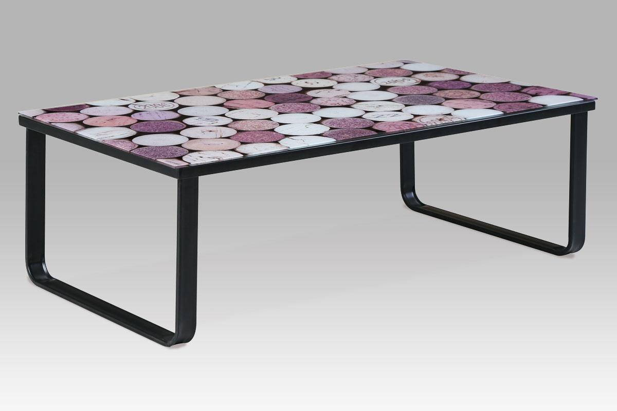 Konferenční stolek skleněný Hynek, 105 cm, korkový dekor