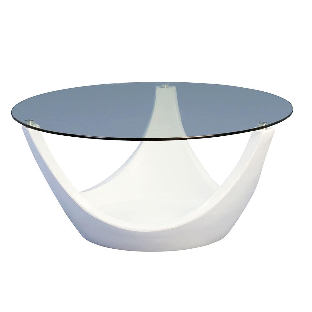 Konferenční stolek skleněný Mogul, 80 cm, bílá