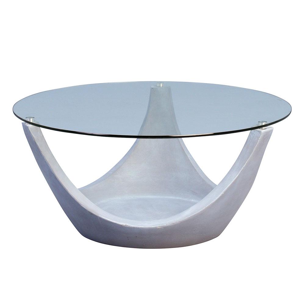 Konferenční stolek skleněný Mogul, 80 cm, šedá