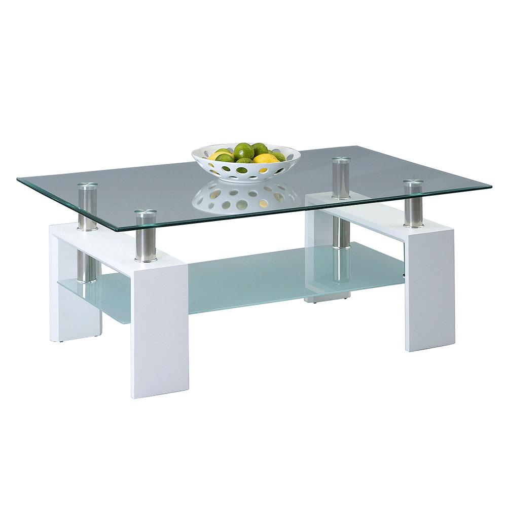 Konferenční stolek skleněný Victory, 110 cm, bílá
