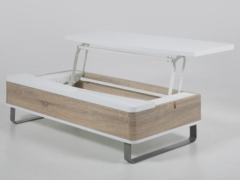 Konferenční stolek Stor se zvedací deskou bílá / dub
